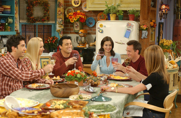 Thanksgiving dinner gathering scene from Friends.