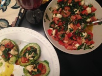 avocado stuffed caprese salad